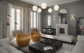 Картинка комната, интерьер, гостиная, Apartment in Paris