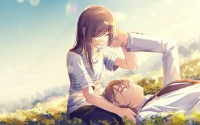 Обои пара, девушка, арт, парень, луг, романтика, аниме