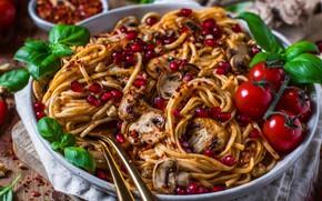 Картинка грибы, помидоры, спагетти, гранат, базилик