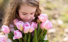 Картинка волосы, весна, девочка, тюльпаны