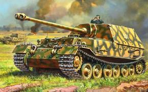 Картинка Германия, живопись, самоходно-артиллерийская установка, Фердинанд, Вторая Мировая война, класса истребителей танков, немецкая тяжёлая