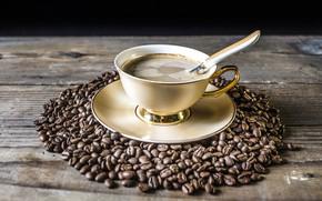 Картинка кофе, чашка, кофейные зёрна, блюдце, аромат
