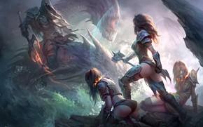Обои арт, демон, Андрей Кузинский, воительницы, дракон, Драконы Вечности, девушки, Dragon Eternity