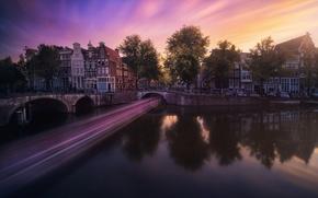 Картинка свет, город, выдержка, канал, Нидерланды