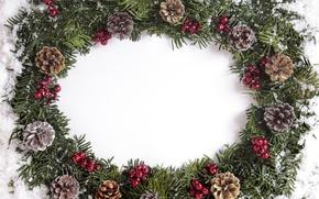 Картинка Новый Год, Рождество, шишки, merry christmas, decoration, xmas, frame
