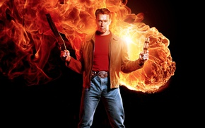 Обои yuusha, cigar, fire, the best, shield, shotgun, Arnold Schwarzenegger, the best of the best, man, ...