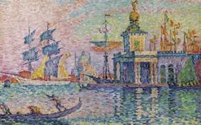 Картинка лодка, корабль, картина, парус, гондола, городской пейзаж, Поль Синьяк, пуантилизм, Венеция. Таможня