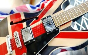 Обои электрогитара, Union Jack, струны, макро, флаг