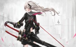 Картинка девушка, оружие, аниме