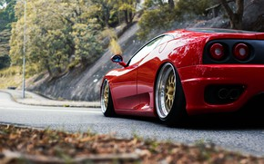 Картинка Красный, Авто, Машина, 360, Суперкар, Modena, Ferrari 360, Габариты, Suspension, Ferrari Modena 360