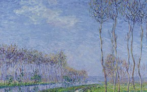 Картинка пейзаж, природа, картина, Гюстав Луазо, Gustave Loiseau, Деревья на Берегу Реки