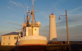 Картинка маяк, корабль, Исландия