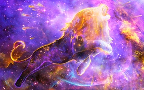 Обои туманность, космос, лев