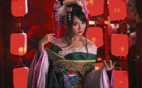 Обои прическа, девушка, азиатка, наряд