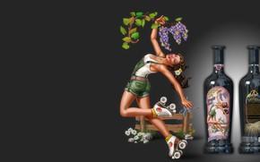 Картинка девушка, вино, бутылки