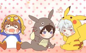 Картинка аниме, малыши, костюмы, Gintama