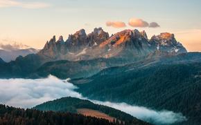 Картинка небо, облака, свет, горы, туман, Альпы, леса