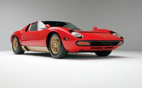 Картинка Красный, Авто, Lamborghini, Ретро, Машина, 1971, Фары, Автомобиль, Суперкар, Miura, Supercar, Передок, Lamborghini Miura, Итальянец, …