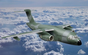 Картинка sky, cloud, Brazil, FAB, kumo, Embraer, KC-390, developed and manufactured by Embraer Defesa e Seg, …