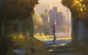 Картинка осень, девушка, арт, nauimusuka