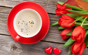 Обои цветы, red, cup, чашка, букет, Valentine's Day, подарок, любовь, кофе, тюльпаны, coffee, tulips, romantic, gift, ...