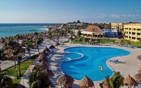 Картинка море, пальмы, океан, бассейн, отель, курорт