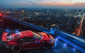 Обои Porsche, Ligth, Tuning, Future, City, by Khyzyl Saleem