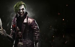 Картинка fire, flame, blood, rose, game, flower, smile, man, Joker, assassin, evil, knife, DC Comics, crazy, …