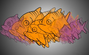 Картинка краски, рыба, стая, пиранья