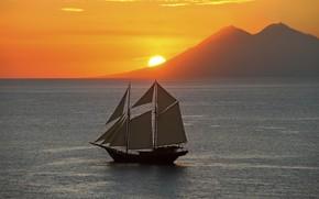 Картинка закат, океан, берег, парусник, вечер, sunset, sailing, Komodo National Pa, Amandira
