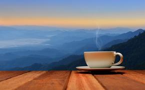 Картинка рассвет, кофе, утро, чашка, hot, coffee cup, good morning