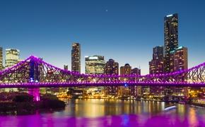 Картинка ночь, мост, city, город, lights, огни, water, night, purple, reflection, skyscrapers, megapolis
