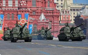 Обои парад, 9 мая, Мста-С, 152-мм, российская, самоходная гаубица, праздник, дивизионная