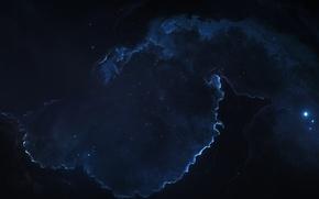 Обои пучина, туманность, starkiteckt, космос, узоры, бездна, огни, свечение, Cold embrace, арт, звёзды, точки