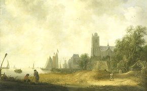 Картинка пейзаж, масло, картина, холст, Wouter Knijff, Вид на Дордрехт