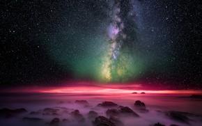 Обои млечный путь, звезды, ночь, небо, море