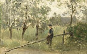Картинка масло, картина, Йосеф Исраэлс, Крестьянский Мальчик на Шлагбауме