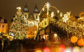 Картинка украшения, city, город, lights, улица, игрушки, елка, Новый Год, Прага, Чехия, Рождество, домик, Christmas, design, …