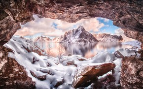 Картинка зима, вода, снег, горы