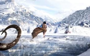 Картинка зима, лес, девушка, горы, Снег
