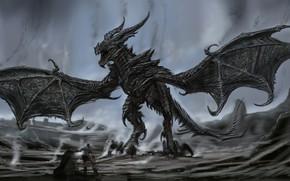 Картинка monster, wings, man, dragon, fang, Alduin Body