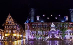 Картинка ночь, огни, дома, Германия, площадь, фонари, Quedlinburg