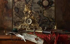Картинка перо, часы, карта, всадник, натюрморт, колокольчик, подзорная труба, чернильница
