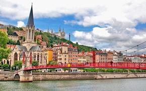 Картинка мост, река, Франция, здания, холм, церковь, набережная, France, Lyon, Лион, Церковь Святого Георгия, St George's …