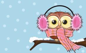 Картинка зима, вектор, ветка, наушники, совушка, арт. детская. сова