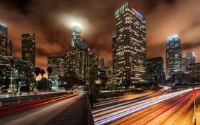 Картинка ночь, мост, огни, выдержка, США, Лос Анджелес