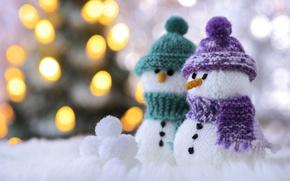 Картинка макро, шарф, снеговики, шапочка, боке, снежки