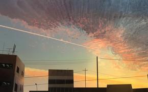 Картинка небо, закат, дома