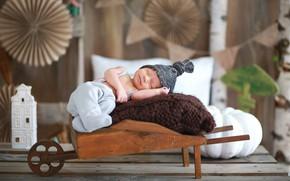 Картинка сон, мальчик, спит, тележка, шапочка, младенец, костюмчик