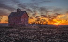 Обои закат, поле, дом